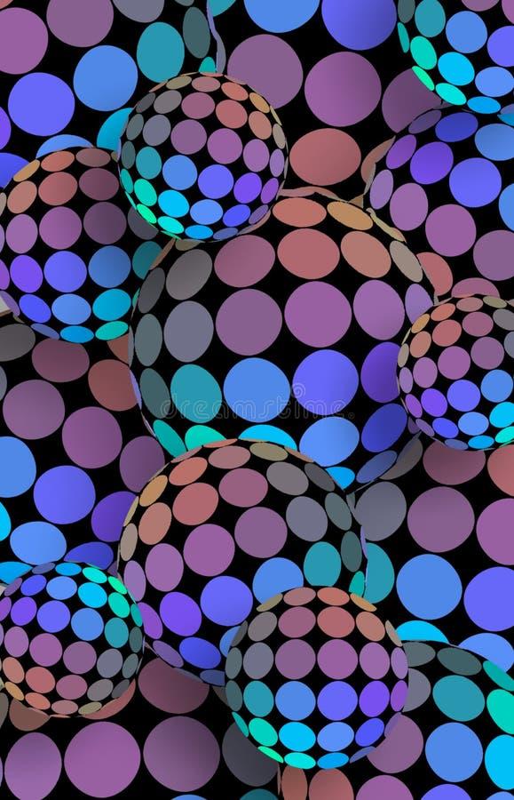 Do mosaico lilás azul holográfico dos azuis celestes das bolas 3d bandeira vertical Fundo digital moderno das esferas ilustração stock