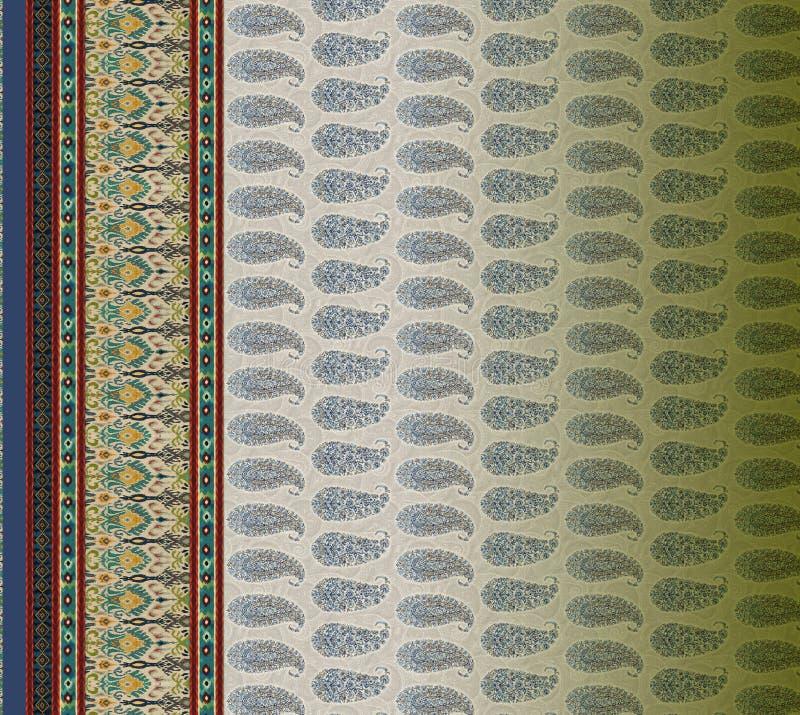 Do motivo digital de paisley do projeto do kurti do terno ilustração dianteira colorida do papel de parede ilustração royalty free