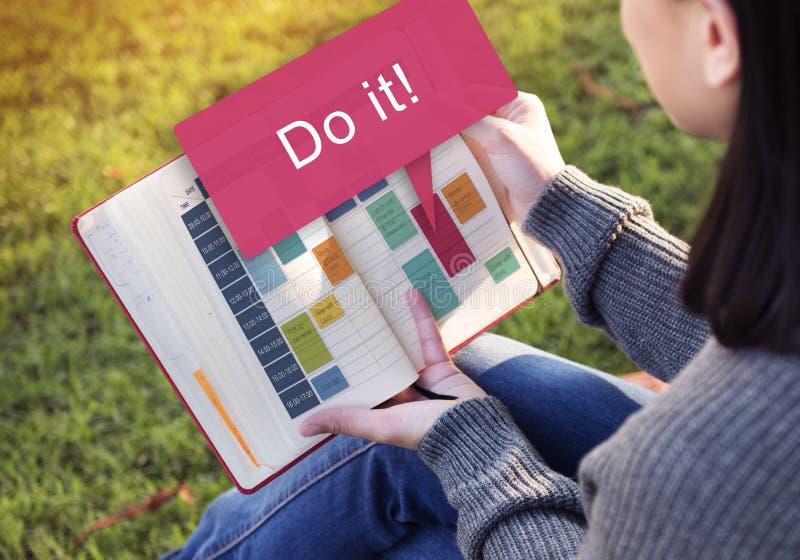 Do It Motovation Development Encouragement Concept. Woman Checkl List Work Concept royalty free stock image