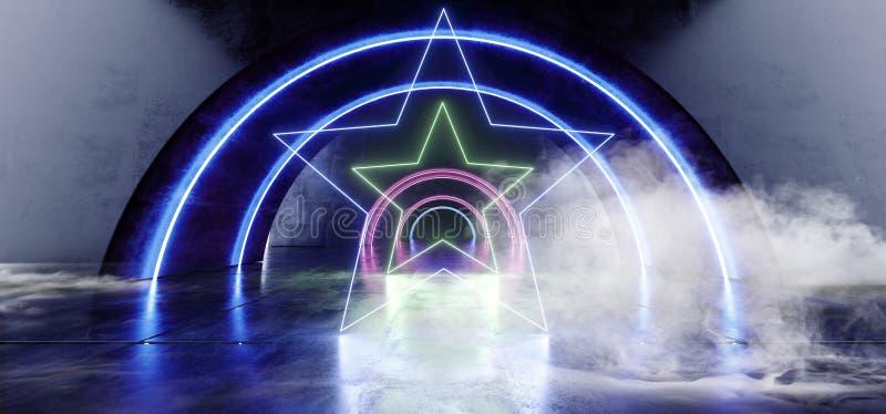 Do néon oval futurista do círculo do fumo as estrelas azuis roxas de incandescência deram forma a luzes do raio laser no túnel re ilustração stock