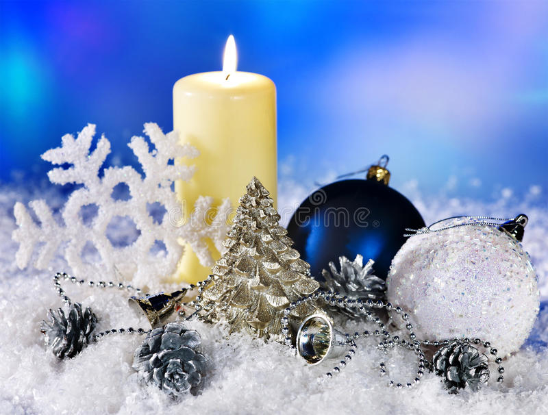Do Natal vida ainda com floco de neve. foto de stock