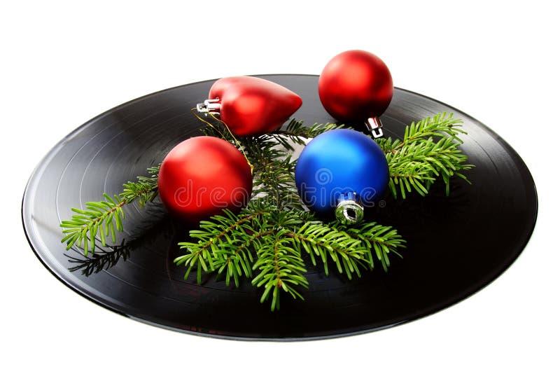 Do Natal vida ainda com um disco e as esferas do vinil. fotografia de stock