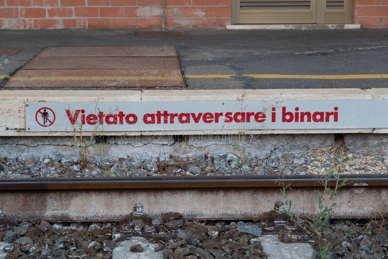 Do not cross the railway lines stock photos