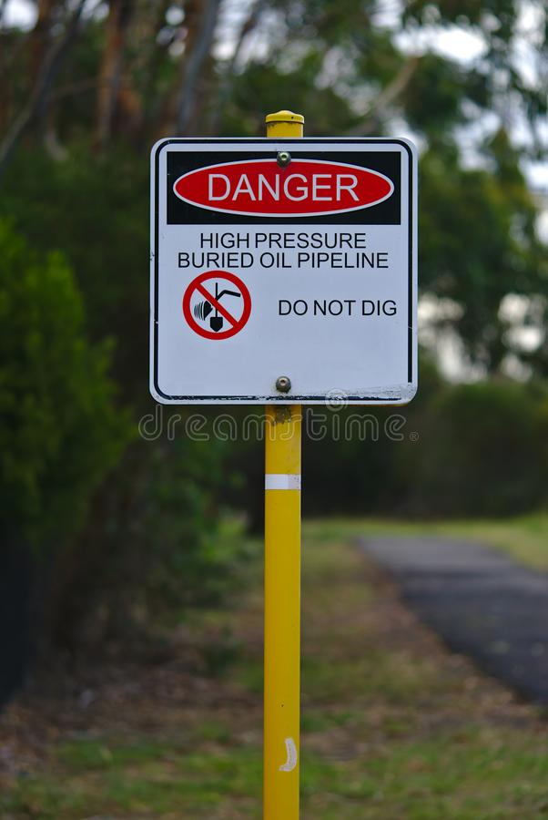 Do not dig high pressure pipeline sign royalty free stock photography