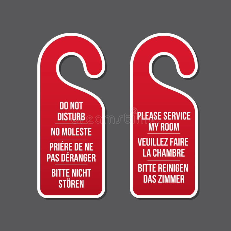 Do not disturb and service my room door signs. Do not disturb and please service my room door hotel signs. Different laguages. Door hanger. Classic design stock illustration