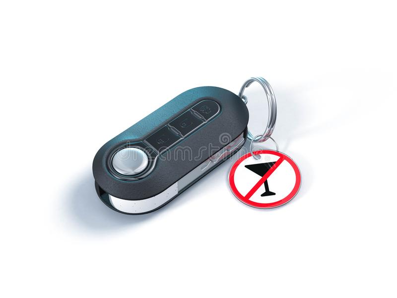 Do not drink and drive. Car keys with alcohol warning sign. On white background royalty free illustration