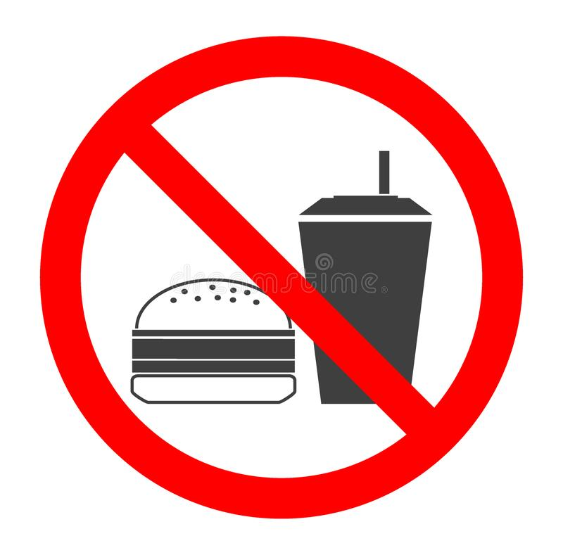 Do not eat and drink symbol. No eating or drinking, prohibition sign.Vector illustration. royalty free illustration