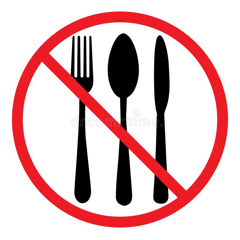 Do not eat icon. Cutlery symbol. Knife, spoon and fork. No food sign royalty free illustration
