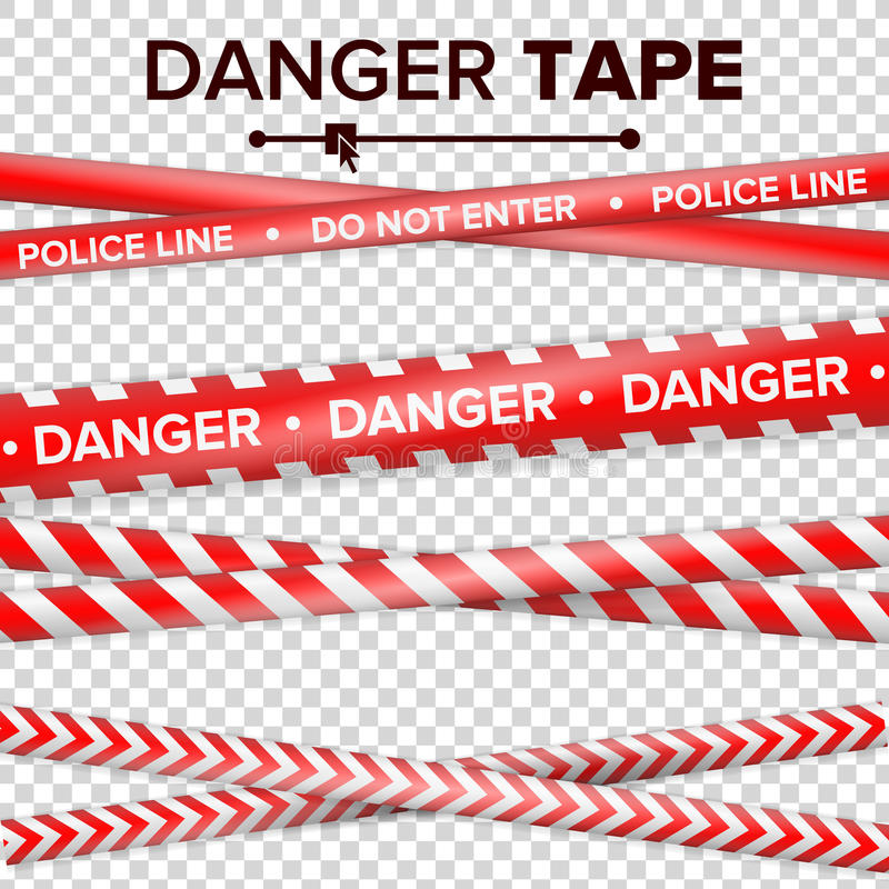 Do Not Enter, Danger. Security Quarantine Red And White Tapes. On Transparent Background. Vector Illustration vector illustration