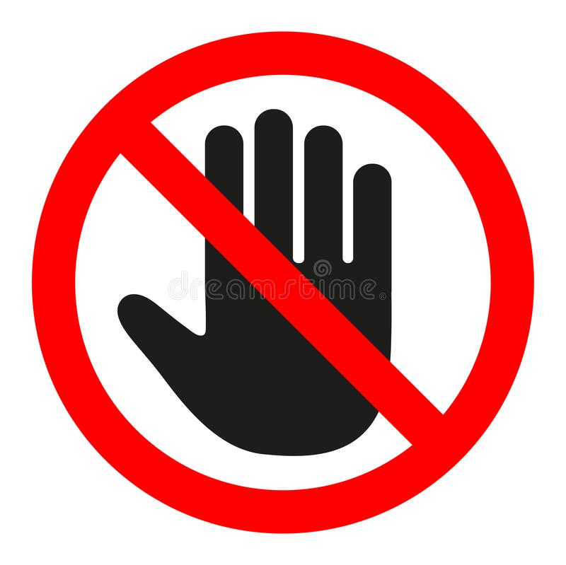 Do not enter stop red sign with hand stock illustration