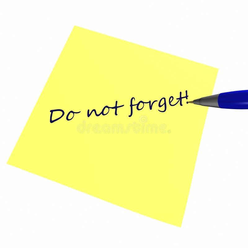 Download Do not forget stock illustration. Image of motivation - 28323054