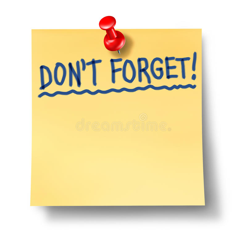 Do not forget don't reminder alzheimers. Do not forget and reminder office note with red thumb tack