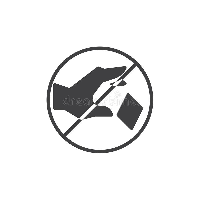 Do not litter prohibition sign vector icon. Filled flat sign for mobile concept and web design. Do not throw trash simple solid icon. Symbol, logo illustration stock illustration