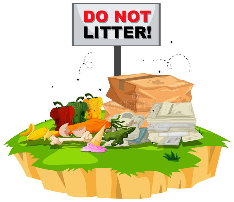 Do not litter sign with trash underneath vector illustration