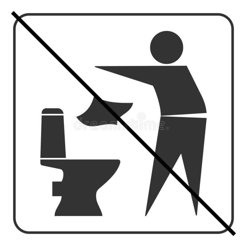 Do not litter in toilet icon 3 royalty free illustration