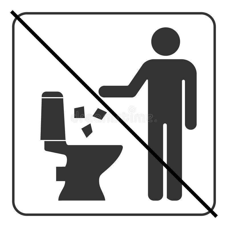 Do not litter in toilet icon 4 stock illustration