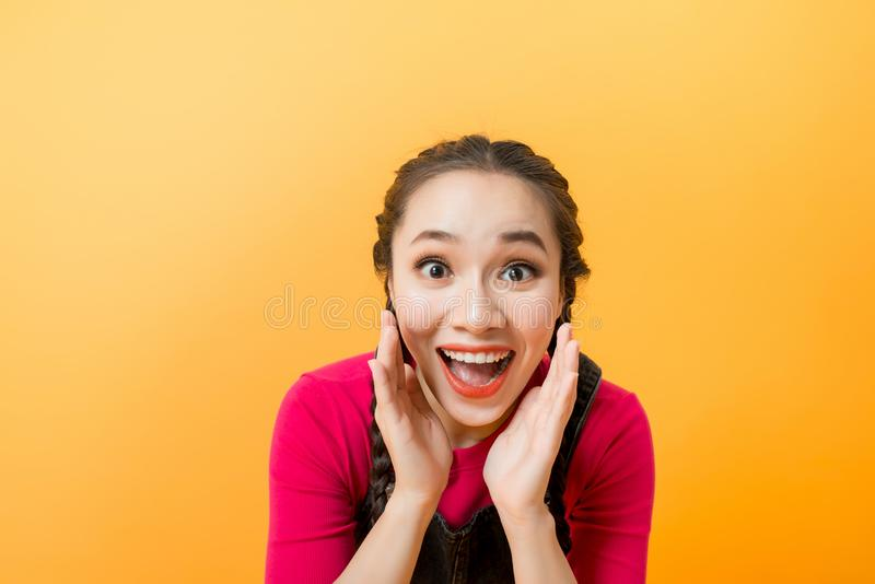 Do not miss. Young casual woman shouting. Shout.  stock photos