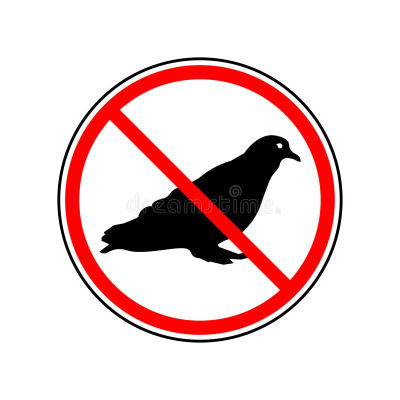 Do not pigeon sign. Pigeon in a crossed out circle sign. Eps ten stock illustration