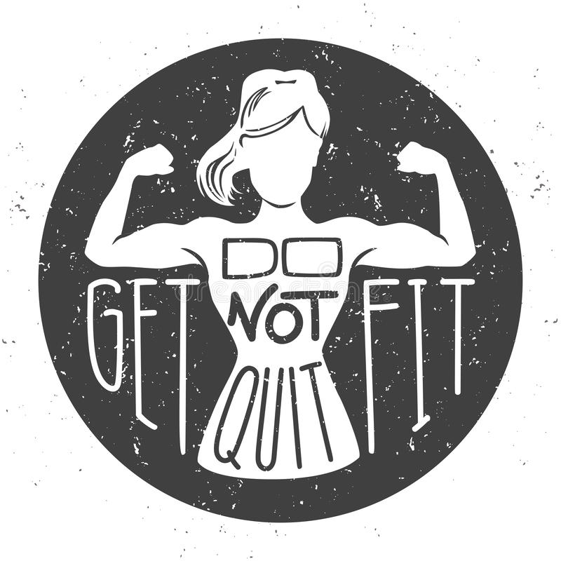 Do not quit, get fit. Motivational vector illustration with female silhouette doing bicep curls . Hand written inspirational fitness phrase. Lettering design stock illustration