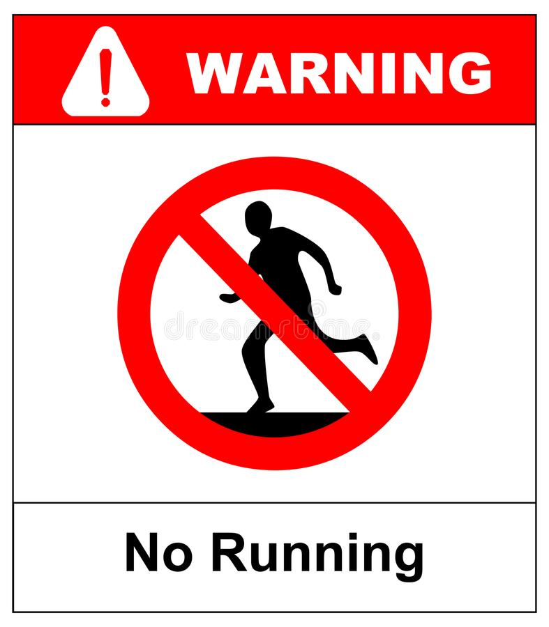 Do not run, prohibition sign. Running prohibited, vector illustration. vector illustration