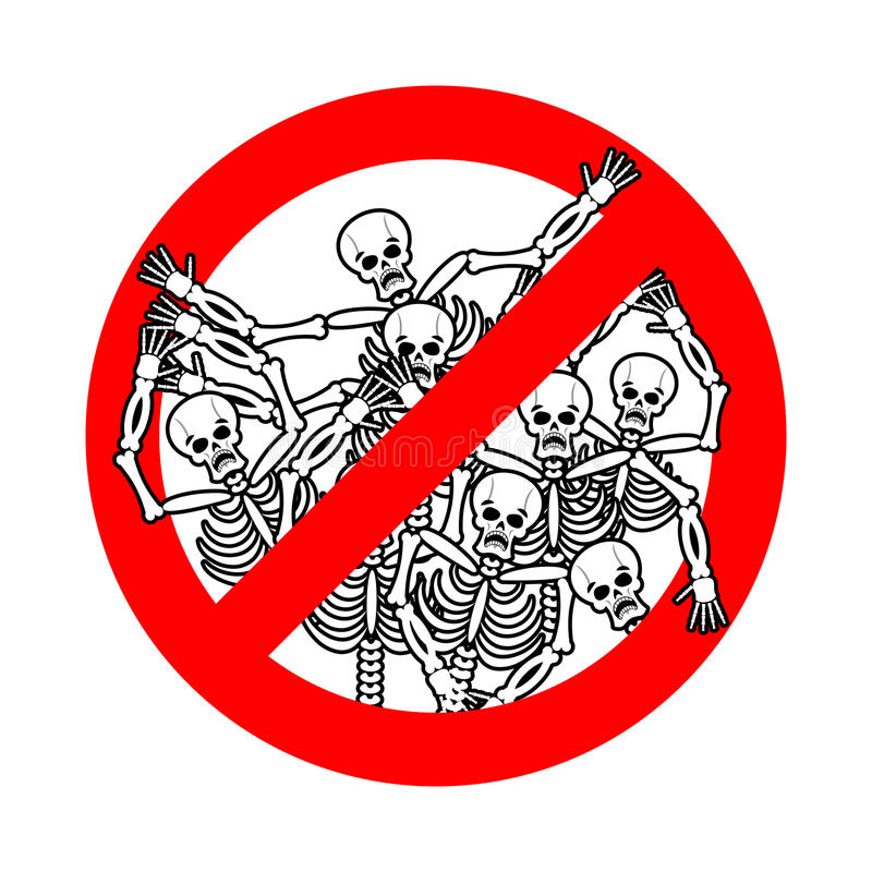 Do not sin. Stop sinners. Dangers red sign dead. Skeletons are p stock illustration