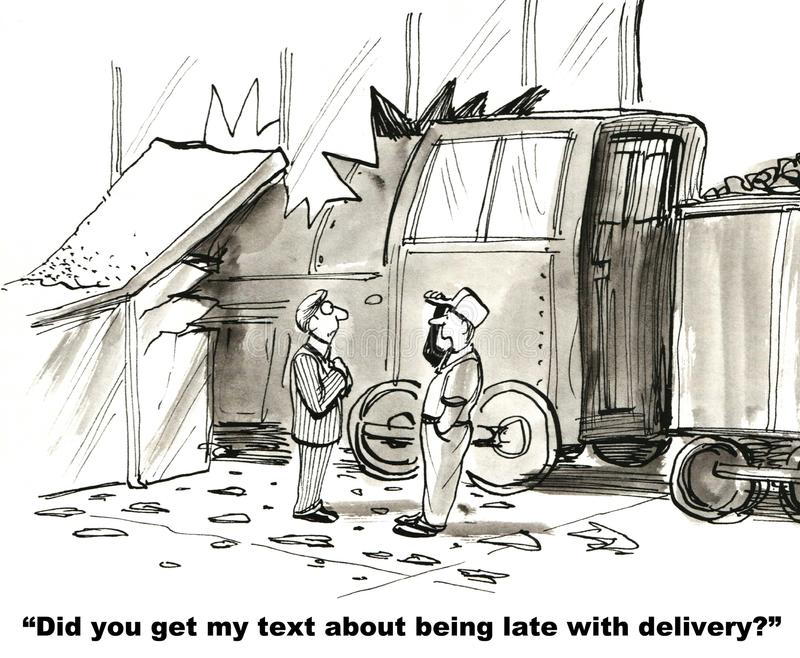 Do Not Text While Driving. Did you get my text about being late with delivery stock illustration