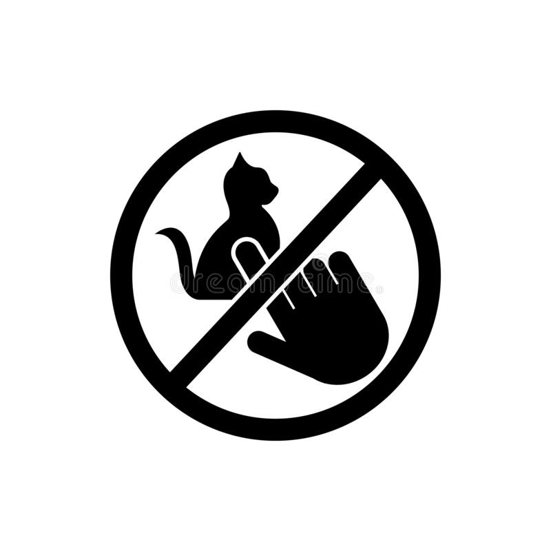 Do not touch, animal, cat icon. Element of prohibition sign icon. Premium quality graphic design icon. Signs and symbols. Collection icon on white background vector illustration
