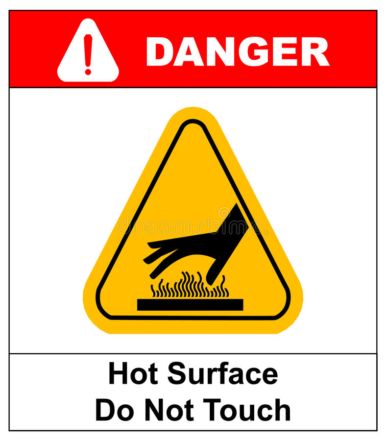 Free Do Not Touch Hot Surface Danger Signs Illustration Vector Stock Images - 74914594