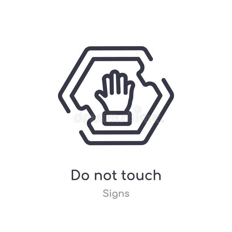do not touch outline icon. isolated line vector illustration from signs collection. editable thin stroke do not touch icon on vector illustration