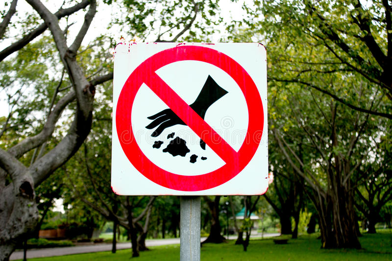 Do not waste warning signs. Do not waste warning signs in the park stock images
