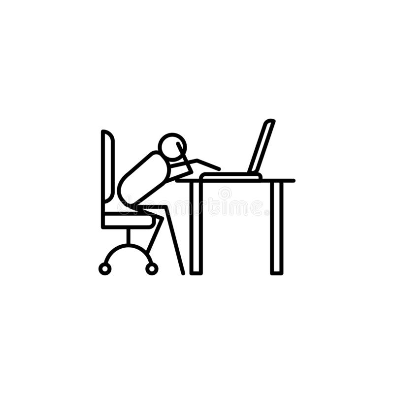 Do not work at work outline icon. Element of lazy person icon for mobile concept and web apps. Thin line icon do not work at work. Can be used for web and royalty free illustration