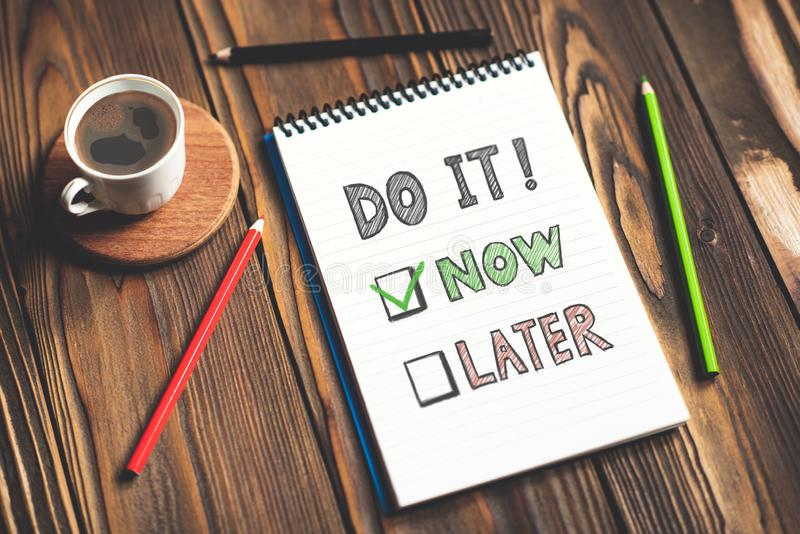 Do It Now and Time Management Concept royalty free stock images