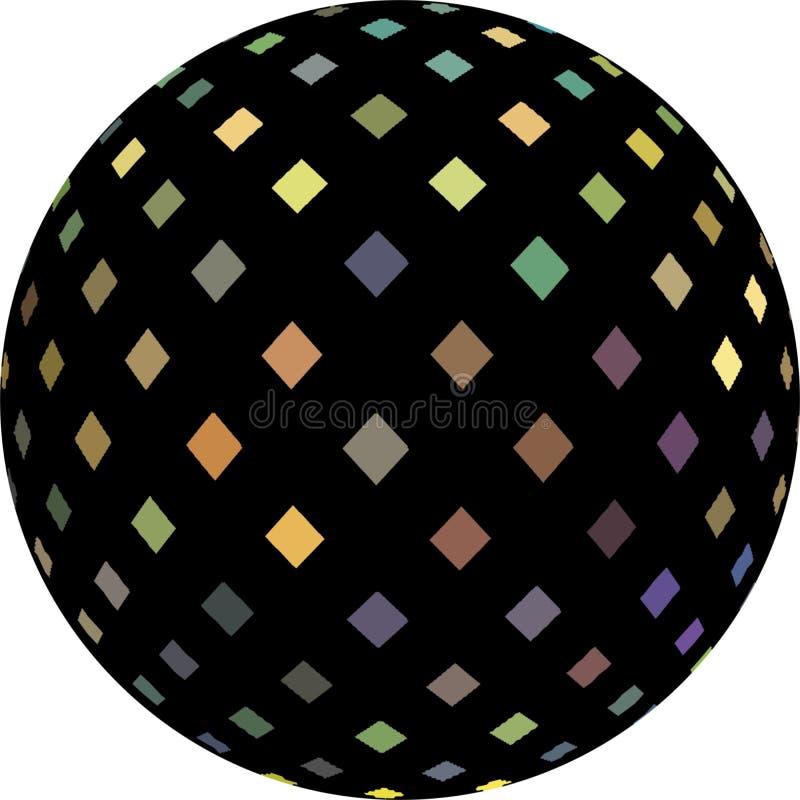 Do objeto preto da esfera 3d do mosaico do holograma o gráfico abstrato isilated Teste padrão iridescente azul amarelo roxo ilustração stock
