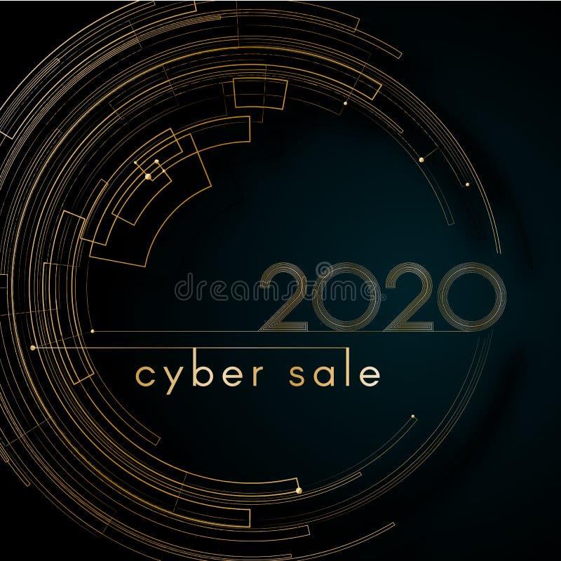 Do ouro luxuoso da venda do Cyber linhas futuristas 2020 do círculo em cartões elegantes luxuosos de um elemento criativo moderno ilustração royalty free