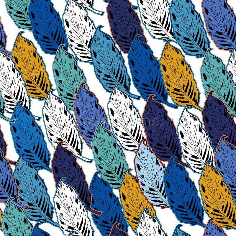 Do outono colorido do esboço da mão do verão teste padrão sem emenda com folhas ilustração do vetor