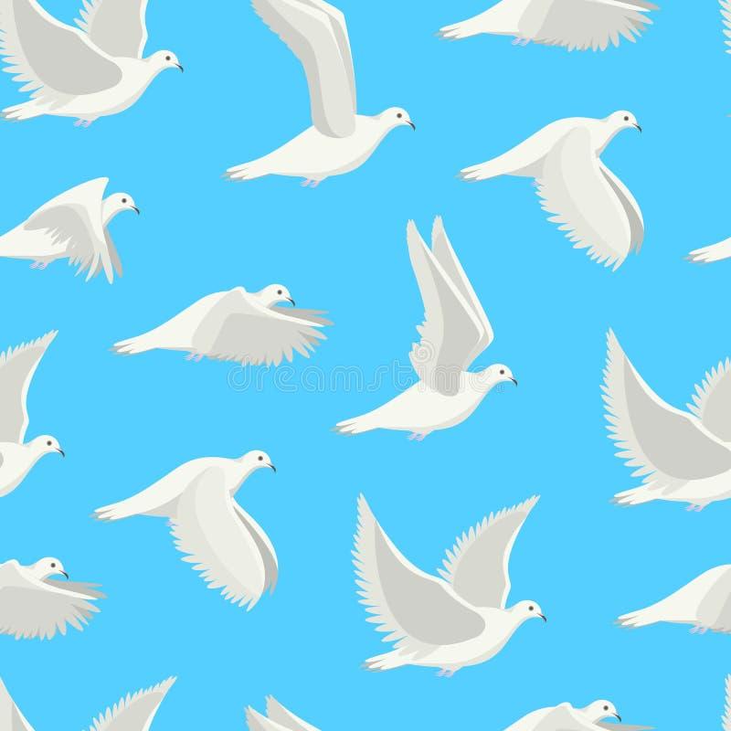 Do pássaro branco da pomba dos desenhos animados fundo sem emenda do teste padrão Vetor ilustração royalty free
