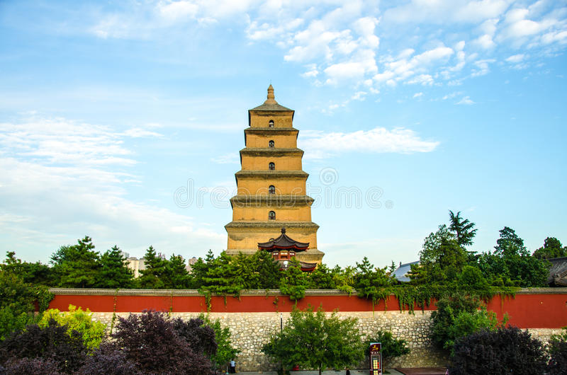 Do pagode selvagem grande do ganso de Xi'an construções históricas budistas imagens de stock