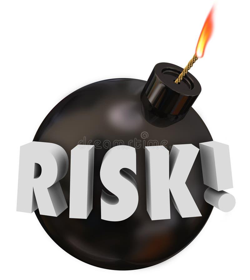 Do perigo redondo da bomba do preto da palavra do risco potencial problema de advertência ilustração do vetor