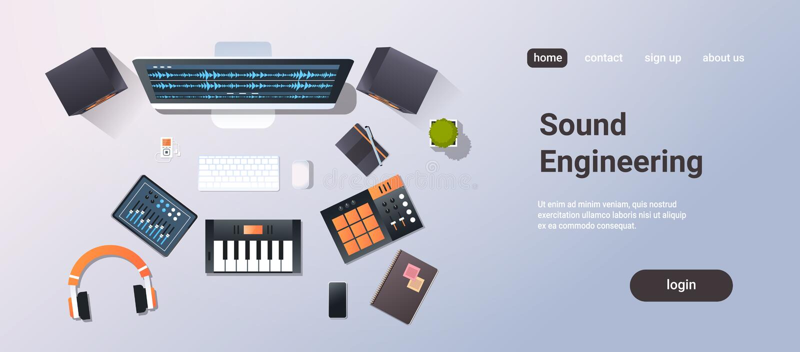 Do piano desktop sadio do monitor da opinião de ângulo superior do conceito da engenharia do estúdio de gravação da música fones  ilustração do vetor