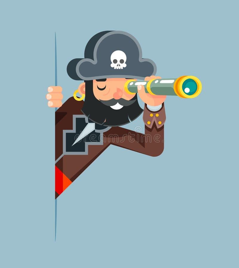 Do pirata do corsário do obstrucionismo do corsário de mar do cão do telescópio pequeno do telescópio do espião do olhar conceito ilustração do vetor