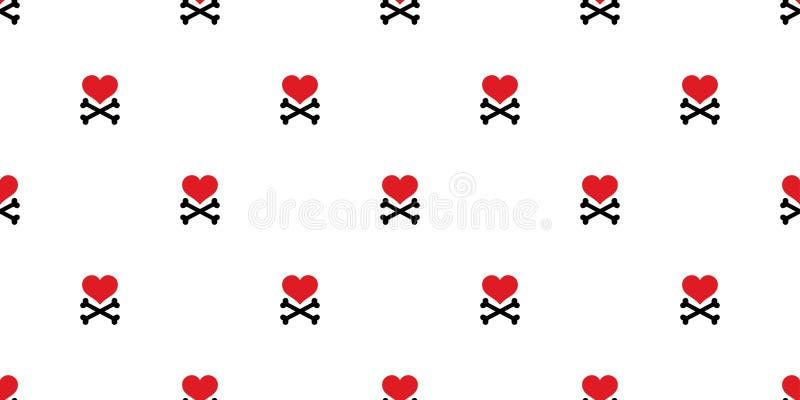 Do pirata transversal do osso do coração o crânio sem emenda do teste padrão isolou o papel de parede de Valentine Halloween do a ilustração stock