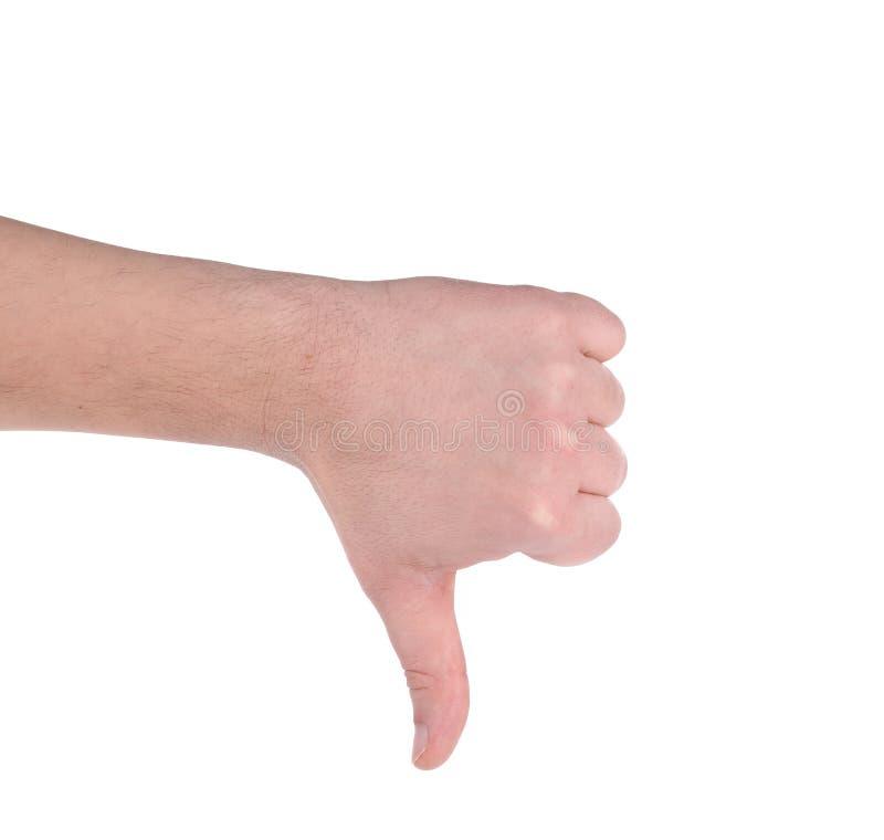 Do polegar sinal masculino da mão para baixo imagens de stock