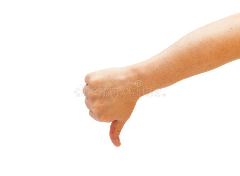 Do polegar sinal masculino da mão para baixo foto de stock royalty free