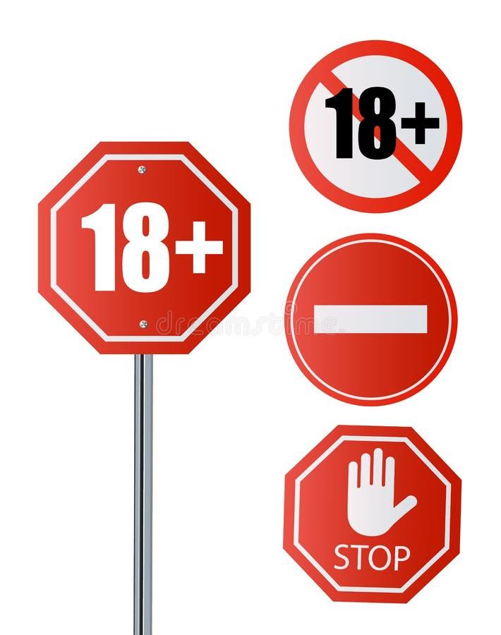 Do 18 pozwolić szyldowego stary niż 18 Liczba osiemnaście w czerwieni krzyżował za okręgu, wielobok royalty ilustracja