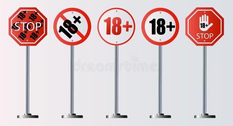 Do 18 pozwolić szyldowego stary niż 18 Liczba osiemnaście w czerwieni krzyżował za okręgu, wielobok ilustracja wektor