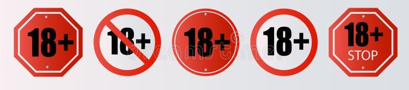 Do 18 pozwolić szyldowego stary niż 18 Liczba osiemnaście w czerwieni krzyżował za okręgu, wielobok ilustracji
