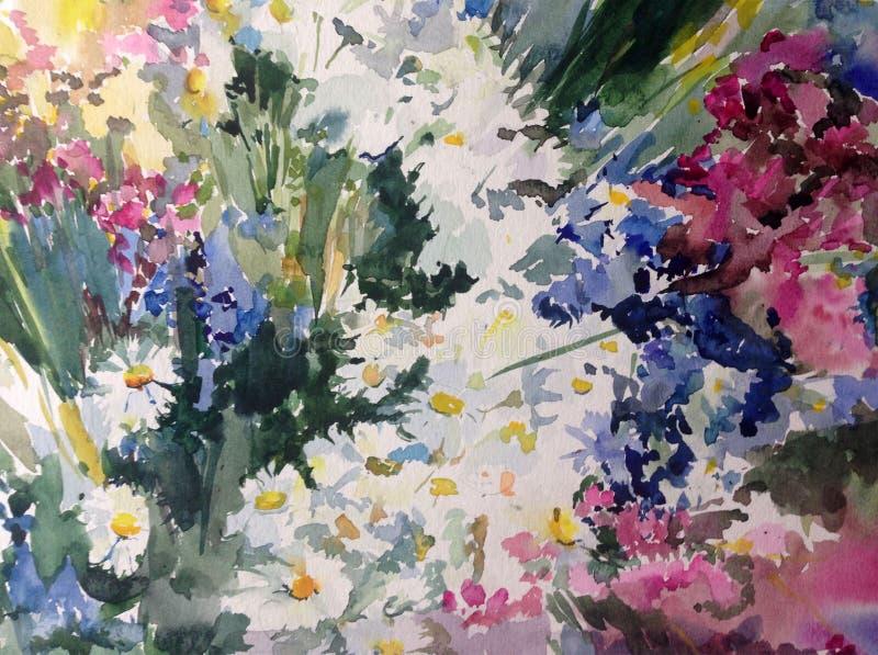 Do prado floral bonito fresco das camomilas dos wildflowers do fundo do sumário da arte da aquarela a lavagem molhada textured mo ilustração do vetor