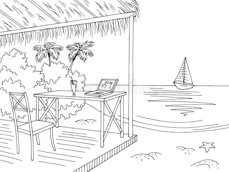 Do preto gráfico da baía do bungalow do escritório da praia vetor branco da ilustração do esboço da paisagem ilustração do vetor