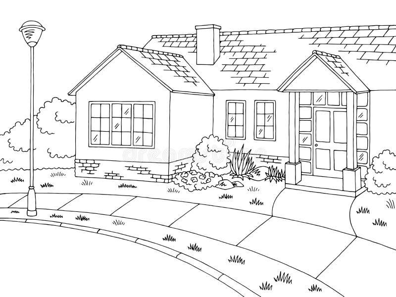 Do preto gráfico da casa da estrada da rua vetor branco da ilustração do esboço da paisagem ilustração do vetor