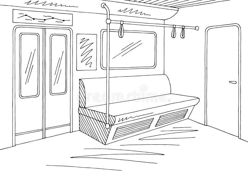 Do preto gráfico interior do metro do metro do trem vetor branco da ilustração do esboço ilustração do vetor